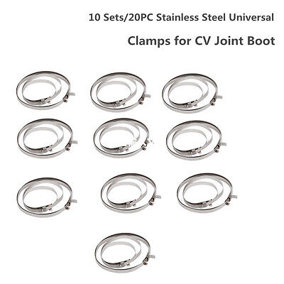 10 Sets Universal Stainless Steel Clamp Clip For Driveshaft Cv Joint Boot Kit