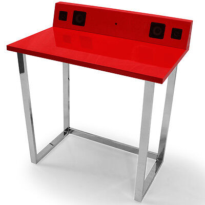 Symphony Red Office Home Desk With built in Speakers Aux Input Jack MP3 Ipod