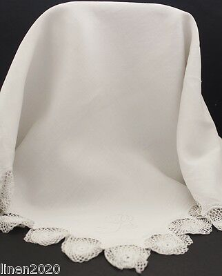 Vintage beige linen/crocheted edged table cloth with monogram B.
