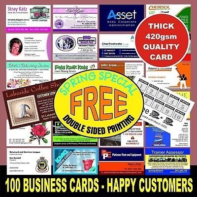 100 Business Cards  Full Colour Print Quality White Card Free Double Sided Print