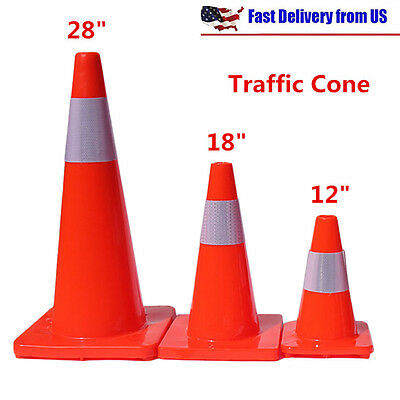 "12""/18""/28"" Traffic Cones Fluorescent Red Reflective Road Safety Parking Cones"