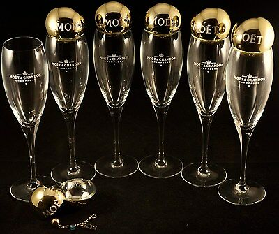 Moet Chandon Champagne Imperial Flutes X 6  Plus 6 Baubles With Coloured Bead