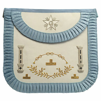 New Masonic Grand Lodge Worship Apron with Hand Embroidery Silver bullion wire