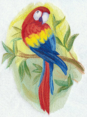 Embroidered Scarlet macaw watercolour quilt block,  fabric,cushion panel,parrot