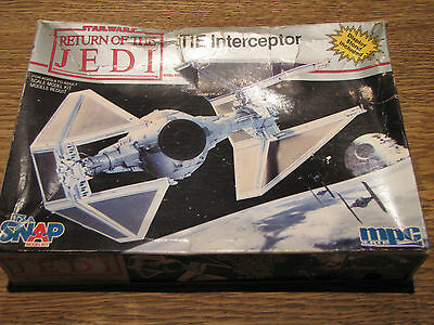 Star Wars MPC Tie Interceptor Snap Together ROTJ complete 1990 partly assembled