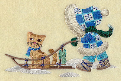 Embroidered Winter sled sunbonnet sue quilt block,sewing, fabric,cushion panel,
