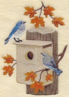 Embroidered Bluebirds in autumn quilt block,bird fabric,cushion panel,feather