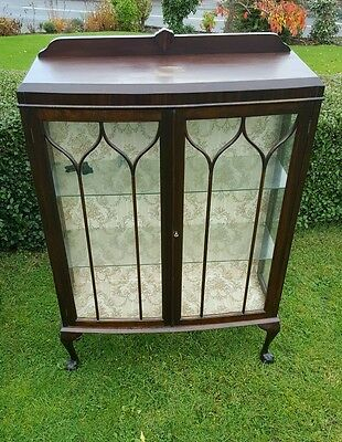 Glass Door China Cabinet. Dresser Antique.  Shabby Chic. Queen Ann Legs