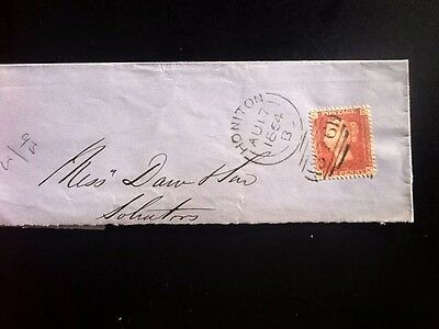 Great  Britain,early  Used  Victorian Cover..dated 1864  Plate  93