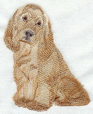 Embroidered spaniel quilt block, cushion panel,dog fabric,cocker spaniel,dog