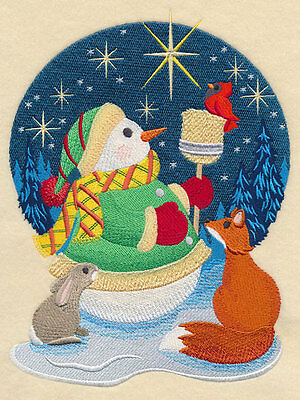 Embroidered Stargazing snowman quilt block,xmas fabric, cushion panel, fox