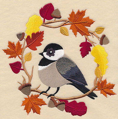Embroidered wreath autumn chickadee quilt block,fabric,cushion panel,autumn,fall