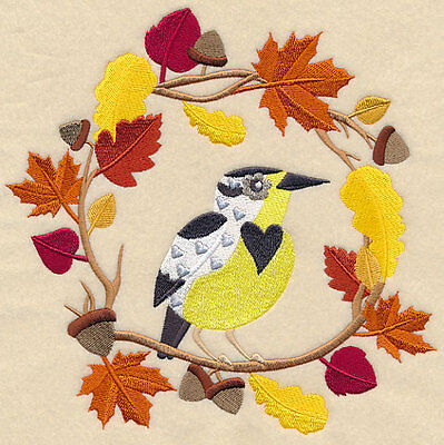 Embroidered wreath autumn meadowlark quilt block,fabric,cushion panel,autumn
