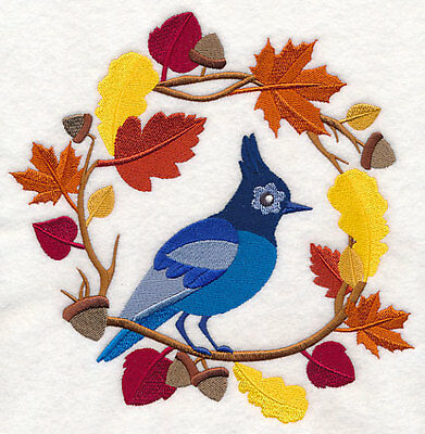 Embroidered wreath autumn blue jay quilt block,fabric,cushion panel,autumn,fall
