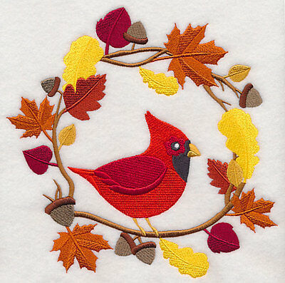 Embroidered wreath autumn cardinal quilt block,fabric,cushion panel,autumn,fall
