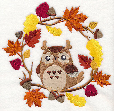Embroidered wreath autumn owl quilt block,fabric,cushion panel,autumn,fall