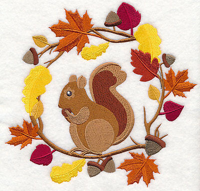 Embroidered wreath autumn squirrel quilt block,fabric,cushion panel,autumn,fall