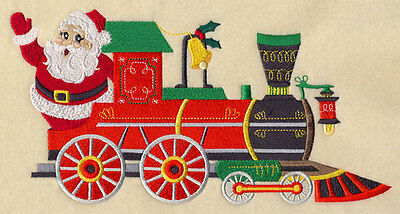 Embroidered  christmas train santa quilt block,fabric,cushion panel,snowman