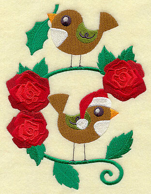 Embroidered merry christmas birdies quilt block,fabric,cushion panel,snowman
