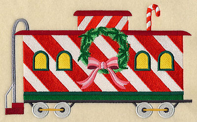 Embroidered  christmas train caboose  quilt block,fabric,cushion panel,santa