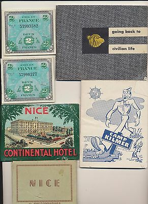 Vintage Lot WWII Military Solider Collection Patches Photos Postcards Ephemera