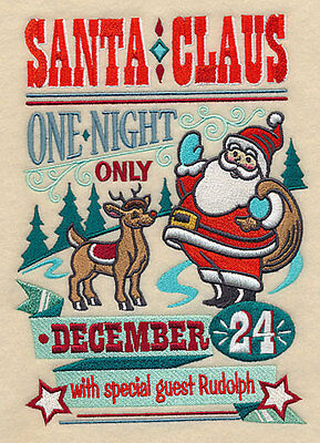 Embroidered santa show poster quilt block, fabric,cushion panel,quilt