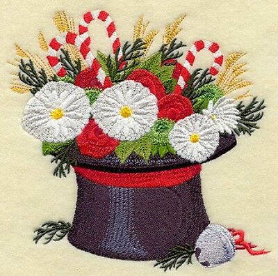 Embroidered snowmans hat bouquet quilt block,  cushion panel,christmas,xmas