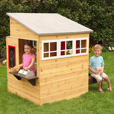 Kidkraft Wooden Modern Outdoor Playhouse | Cubby House & Picnic Table and Seats
