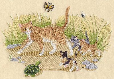 Embroidered Kitty crossing quilt block, quilt panel,cushion panel,cat fabric