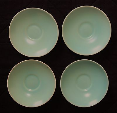 Poole Pottery Saucers (4), Twintone Ice Green, Very Good to Good Condition