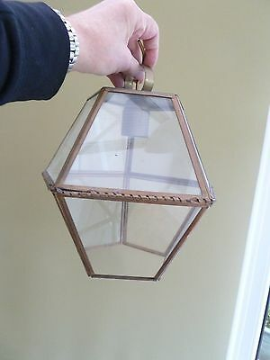 French Vintage Brass and Glass Porch Light