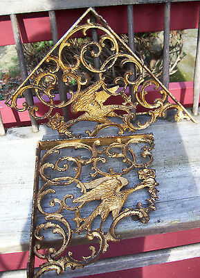 Antique GOLD ORNAMENTAL /  Iron House Brackets / EAGLE