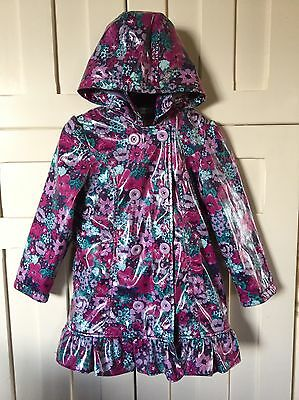 Girls M&S Floral Fleece Lined RainCoat Age 5-6