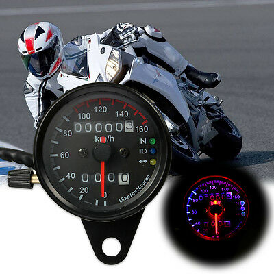 Motorcycle LED Backlight Dual Odometer Speedometer Gauge W/ Bracket Cafe Racer