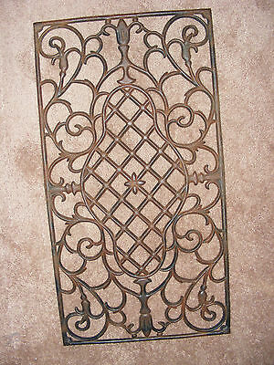 Antique Cast Iron Floor Grate 31 x 16.5 Victorian? Honeycomb Floral Ornate