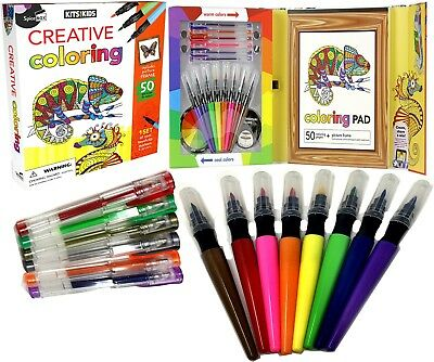 Children Creative Activity Colouring Pad Book Art Set Collection Gel Pen Markers