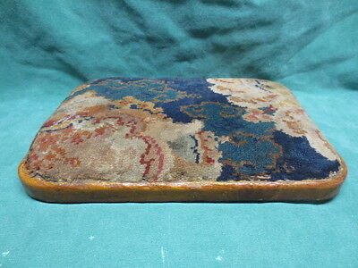 Antique Colorful Rug Covered Footstool Tuffet Top