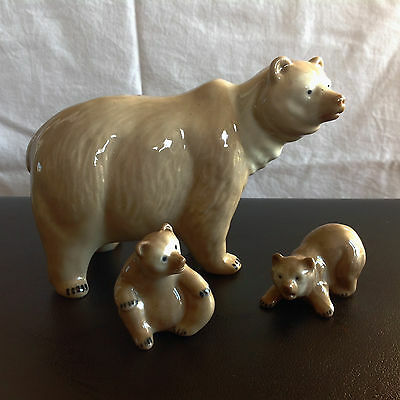 Fine Pottery Mother Bear and Two Cubs Figurines