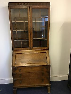 Antique 1930's Solid Oak Bureau Bookcase With Hidden Draws Lockable And On Legs