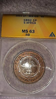 **rare Condition** 1892 South Africa Penny Anacs Ms63 Mostly Red