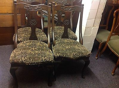 Set Of 4 Antique Art Nouveau Dining Chairs Carpet Seat Tulip Back Restoration