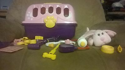 """Veterinarian Kit Sammie the pup Animal Alley 7"""" stuffed dog cage &  accessories"""