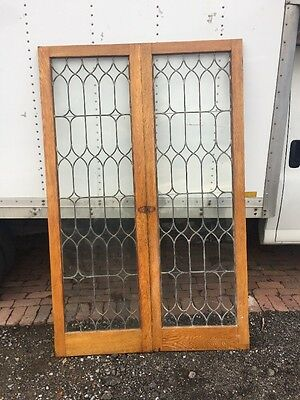 Brick Six Antique Pair Matched Leaded Glass Extra Large Cabinet Doors