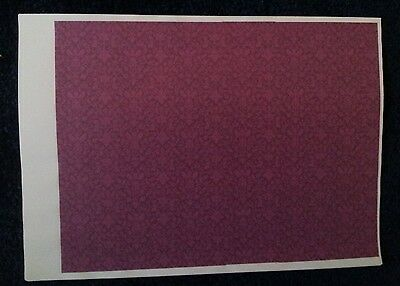 7 Sheets Dolls House Wallpaper 1/12th scale Purple Damask