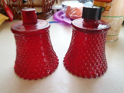 2 Vintage HOMCO Ruby Red Glass Votive Candle Holders Quilted Diamond & Hobnail