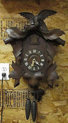 Vintage Cuckoo Clock beautifully carved eagle Antique American Cuckoo Clock Co.