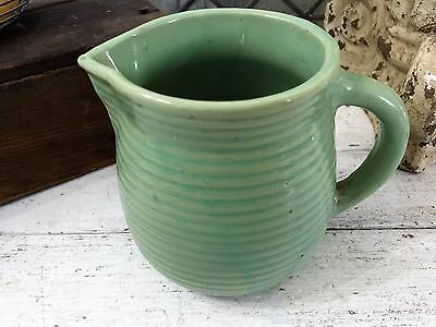 Vintage GREEN Monmouth Western Pottery Ring Ribbed Buttermilk Pitcher Stoneware
