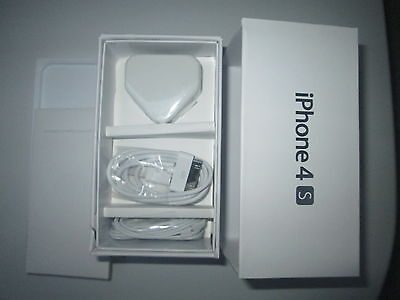 White Iphone 4S Empty Box Only **new Accessories** Earphones Usb Cable & Charger