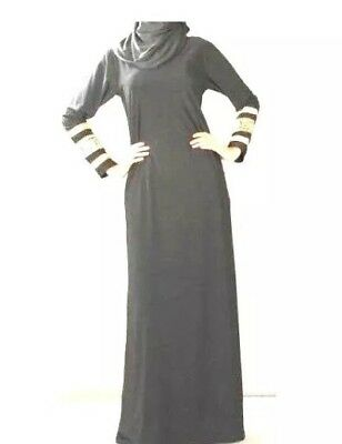 SIMPLY BLACK Abaya Borka Muslim Women islamic work wear Ladies long sleeve