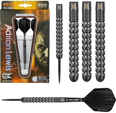 Adrian Lewis Black Pixel Grip 90% Tungsten Steel Tip Darts by Target